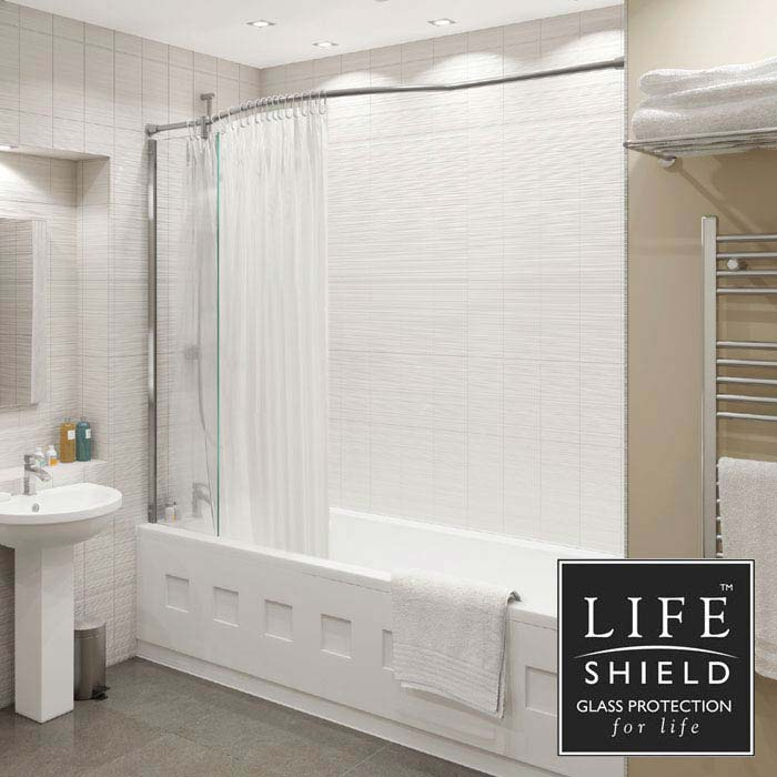 KUDOS Inspire Over Bath Shower Panel with Bow Recess Rail