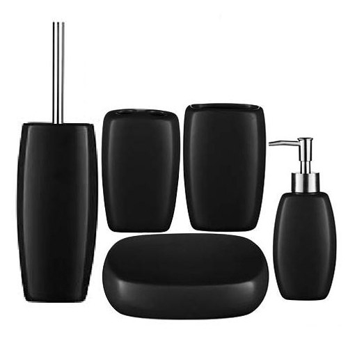 5 Piece Matt Black Stoneware Bathroom Accessories Set At Victorian Plumbing  UK