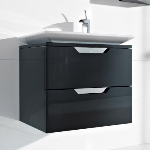Roca - Kalahari-N 2 Drawer Vanity Unit with W650mm Basin - 0 TH - 3 x Colour Options Large Image