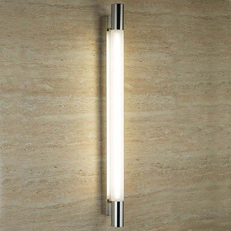 Searchlight Poplar Chrome T5 Oblong Wall Light with Tubular White Glass - 6014CC