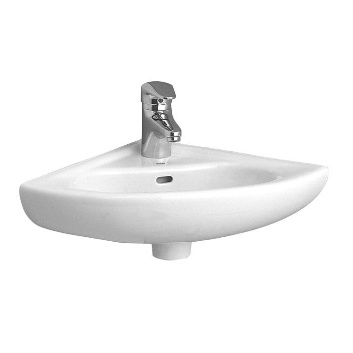 Vitra - Arkitekt Corner Basin and Pedestal - 1 or 2 Tap Hole Option profile large image view 1