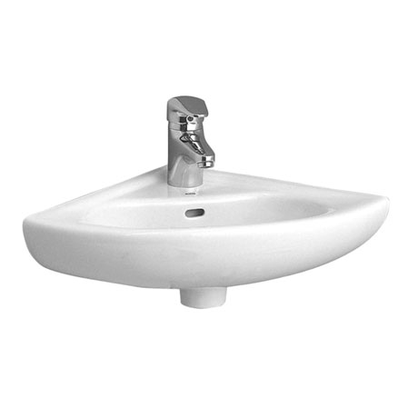 Vitra - Arkitekt Corner Basin and Pedestal - 1 or 2 Tap Hole Option