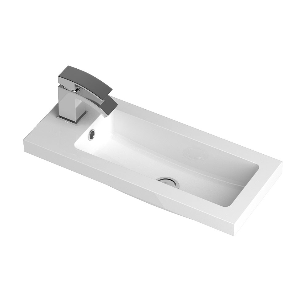 Apollo 600mm Compact Wall Hung Vanity Unit (Gloss Cashmere - Depth 255mm) profile large image view 3