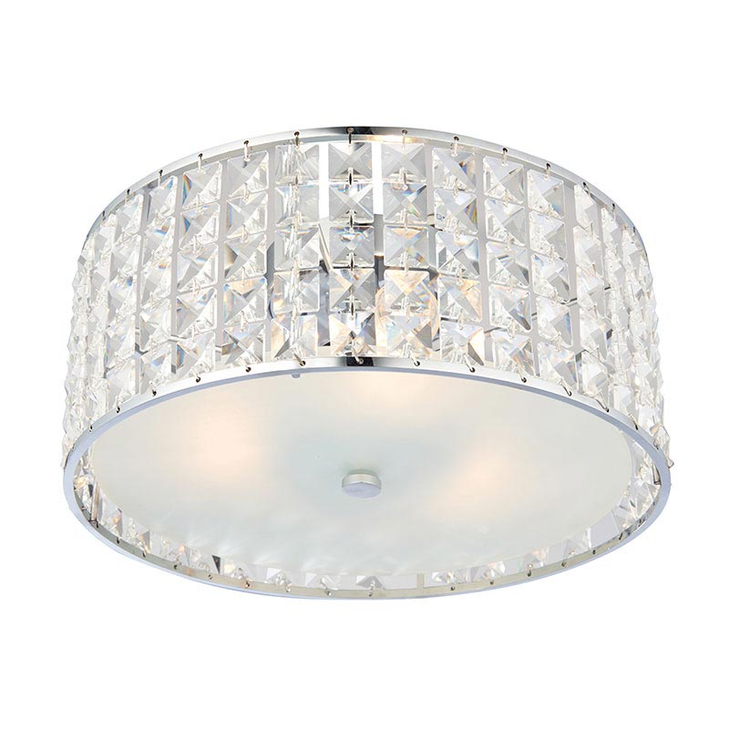 Endon Belfont Flush Bathroom Ceiling Light Fitting profile large image view 1