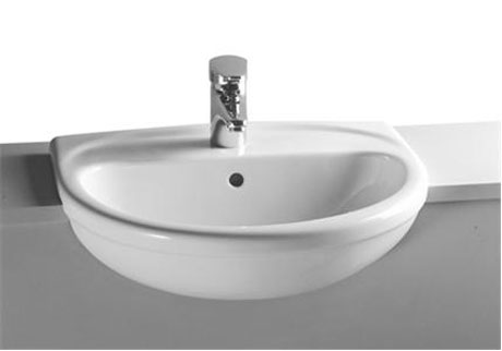 Vitra - Layton Semi-Recessed Basin - 1 or 2 Tap Hole Option profile large image view 1