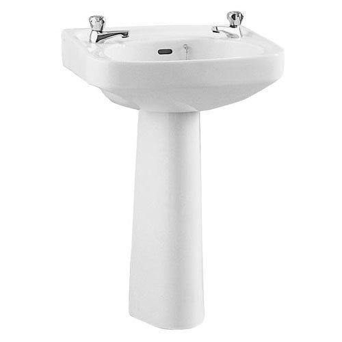 Vitra - Arkitekt 550mm Basin and Pedestal - 2 Tap Hole Large Image