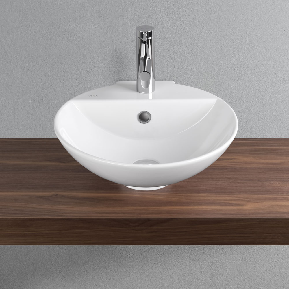 Vitra - Options 45cm Countertop Vanity Basin - 1 Tap Hole - 6166 profile large image view 2
