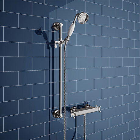 Chatsworth Traditional Crosshead Shower Bar Valve + Slider Rail Kit