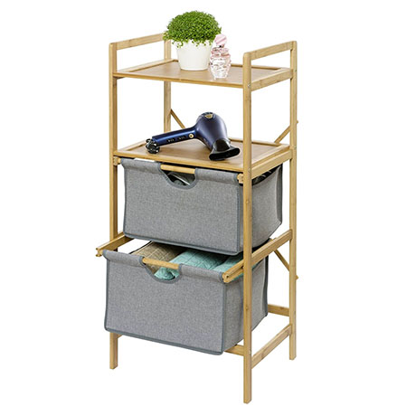 Wenko Bahari Bamboo Shelf Unit with 2 Drawers - 62212100