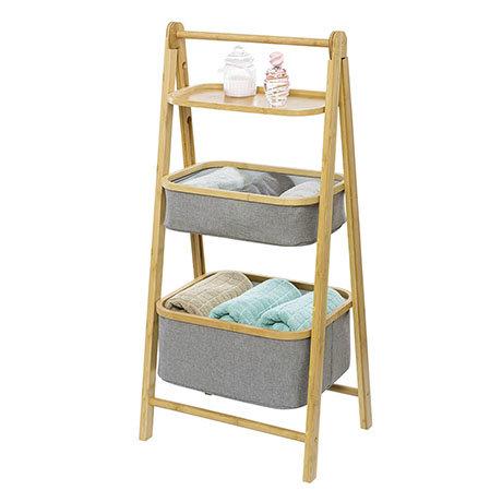 Wenko Bahari Bamboo Foldable Shelf Unit with 2 Baskets - 62214100