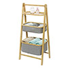 Wenko Bahari Bamboo Foldable Shelf Unit with 2 Baskets - 62214100 Small Image
