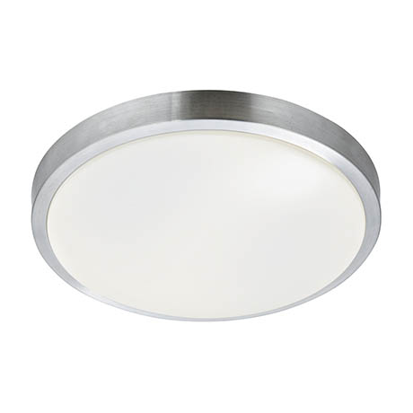 Searchlight Flush Fitting with Aluminium Trim & White Acrylic Shade - 6245-33