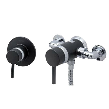 Tre Mercati - Milan Black Exposed or Concealed Manual Shower Valve - 63420 Profile Large Image