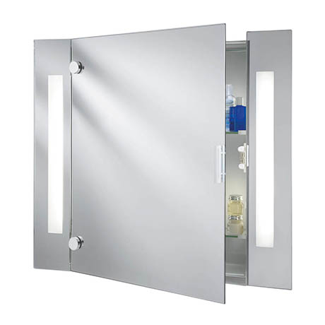 Searchlight Illuminated Bathroom Mirror Cabinet with Shaver Socket - 6560