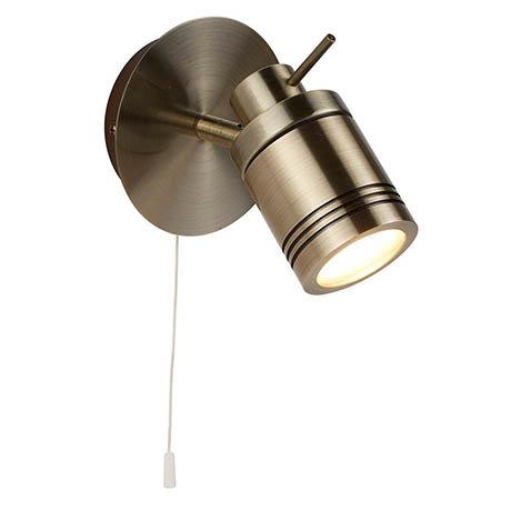 Searchlight Samson Antique Brass 1 Light Wall Mounted Spotlight - 6601AB