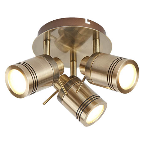 Searchlight Samson Antique Brass 3 Light Ceiling Mounted Spotlight - 6603AB