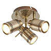 Searchlight Samson Antique Brass 3 Light Ceiling Mounted Spotlights - 6603AB profile small image view 1