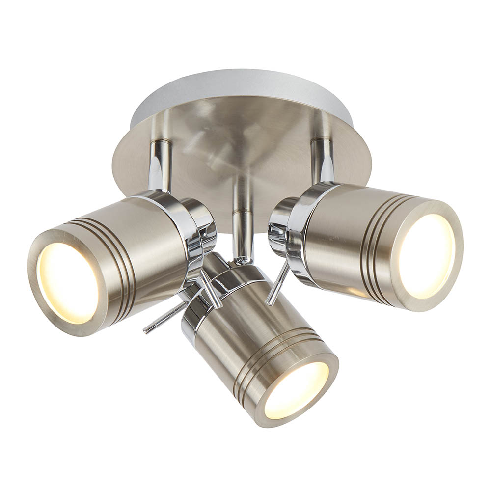 Searchlight Samson Satin Silver 3 Light Ceiling Mounted Spotlights - 6603SS - Close up image of modern bathroom spotlights