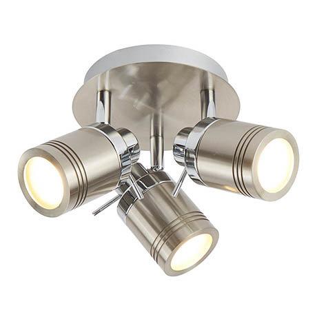 Searchlight Samson Satin Silver 3 Light Ceiling Mounted Spotlights - 6603SS
