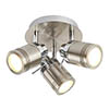 Searchlight Samson Satin Silver 3 Light Ceiling Mounted Spotlights - 6603SS profile small image view 1