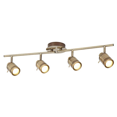 Searchlight Samson Antique Brass 4 Light LED Split-Bar Spotlights - 6604AB