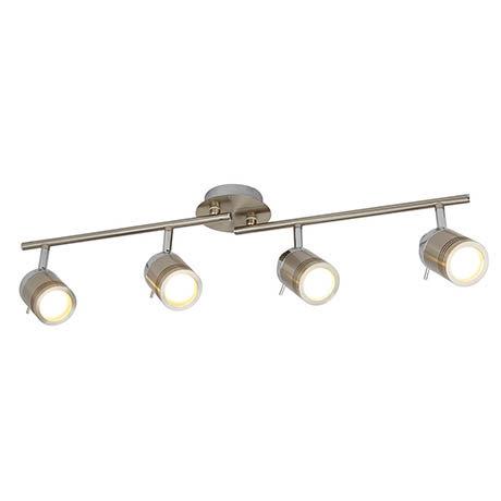 Searchlight Samson Satin Silver 4 Light LED Split-Bar Spotlights - 6604SS