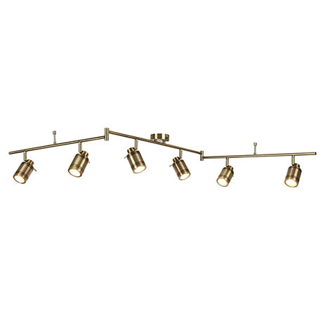 Searchlight Samson Antique Brass 6 Light LED Split-Bar Spotlights - 6606AB