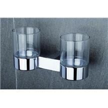 Tre Mercati - Edge Wall Mounted Double Glass Holder - 66525 Medium Image