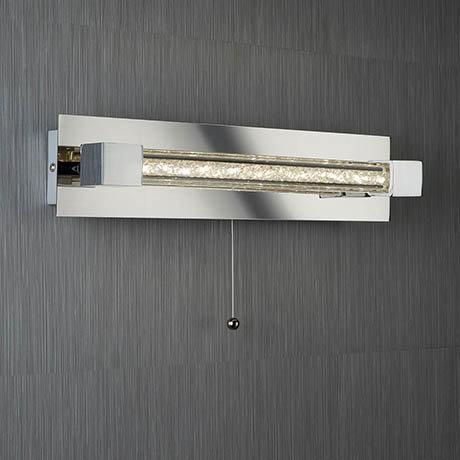 Searchlight Chrome LED Wall Light with Clear Crystal Glass Bar - 6664CC