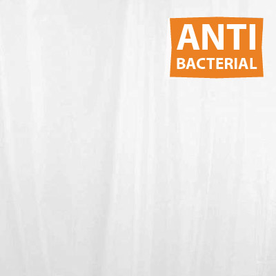 Extra Wide White Anti-Bacterial Polyester Shower Curtain W2400 x H1800mm Large Image