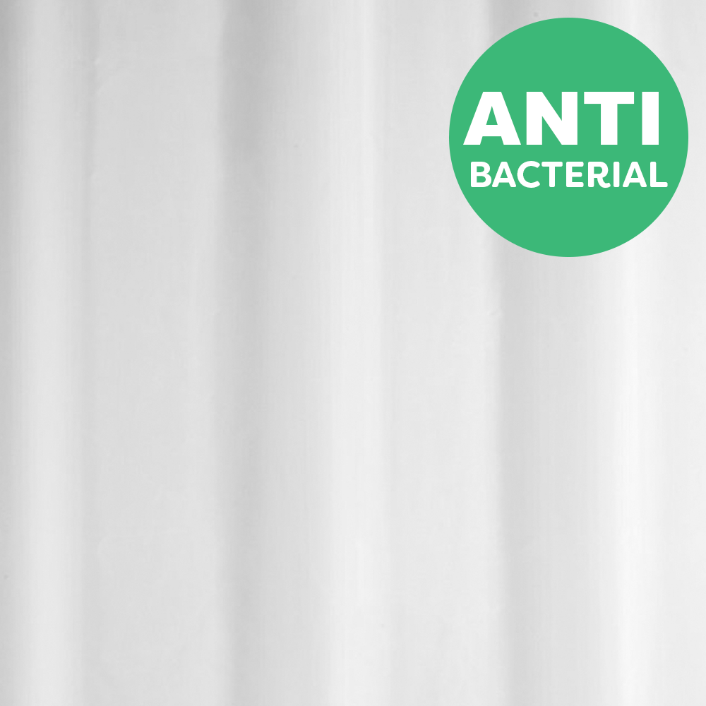 White Anti-Bacterial Polyester Shower Curtain W1800 x H2000mm - 67312