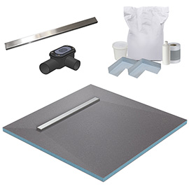 600 Linear 1200 x 1200 Wet Room Walk In Square Tray Former Kit (End Waste)