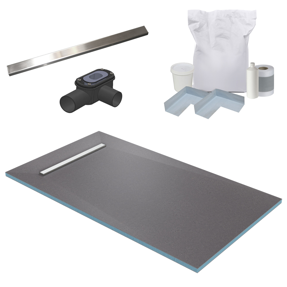 600 Linear 1600 x 900 Wet Room Walk In Rectangular Tray Former Kit (End Waste)