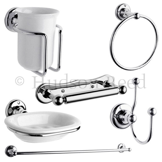 Hudson reed 6 piece traditional bathroom set chrome at for Bathroom accessories uk