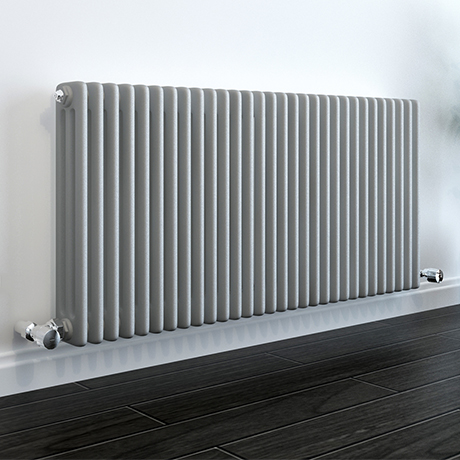 Keswick Grey 600 x 1355mm Cast Iron Style Traditional 3 Column Radiator