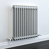 Keswick Grey 600 x 592mm Cast Iron Style Traditional 2 Column Radiator profile small image view 1