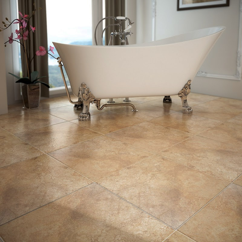 Salerno Noce Travertine Effect Floor Tiles - 450mm x 450mm Profile Large Image