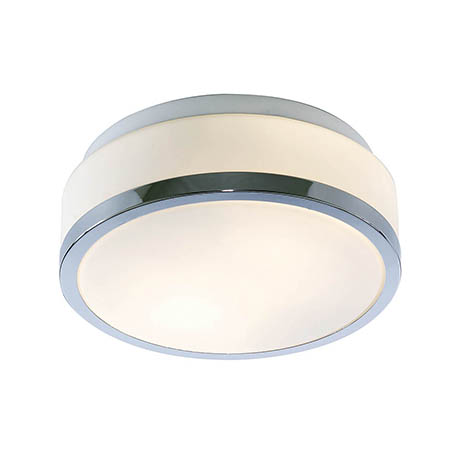 Searchlight Discs 23cm 2 Light Flush Fitting with Opal Glass Shade & Chrome Trim - 7039-23CC