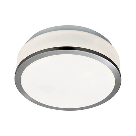 Searchlight Discs 23cm 2 Light Flush Fitting with Opal Glass Shade & Satin Silver Trim - 7039-23SS
