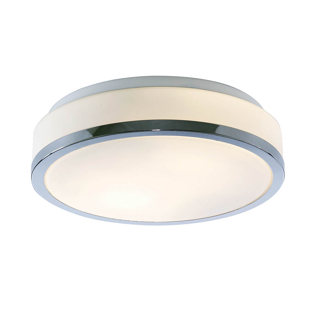 Searchlight Discs 28cm 2 Light Flush Fitting with Opal Glass Shade & Chrome Trim - 7039-28CC