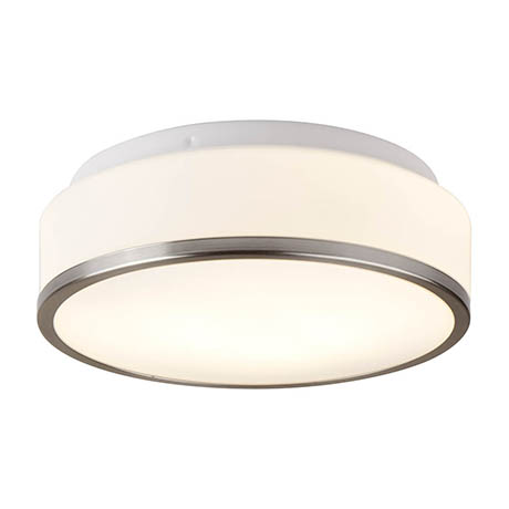 Searchlight Discs 28cm 2 Light Flush Fitting with Opal Glass Shade & Satin Silver Trim - 7039-28SS