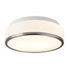 Searchlight Discs 28cm 2 Light Flush Fitting with Opal Glass Shade & Satin Silver Trim - 7039-28SS profile small image view 1