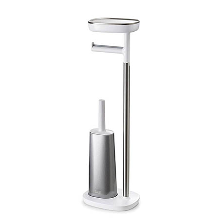 Joseph Joseph EasyStore Plus Freestanding Toilet Paper Holder with Flex Steel Toilet Brush - 70519