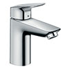 hansgrohe Logis Single Lever Basin Mixer 100 with 2 Flow Rates and Pop-up Waste - 71105000 profile small image view 1