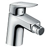 hansgrohe Logis Single Lever Bidet Mixer 70 with Metal Pop-up Waste - 71203000 profile small image view 1