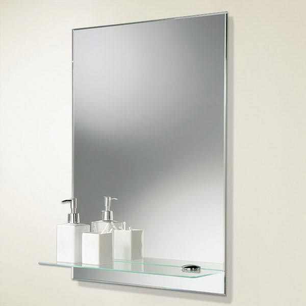 HIB Delby Rectangular Bathroom Mirror with Glass Shelf - 72026000 profile large image view 1