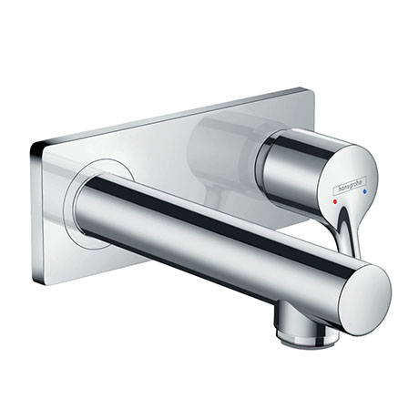 hansgrohe Talis S Wall Mounted Single Lever Basin Mixer with Waste (Short Spout) - 72110000