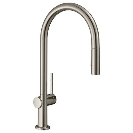 hansgrohe Talis M54 Single Lever Kitchen Mixer 210 with Pull Out Spray and sBox - Stainless Steel -