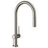 hansgrohe Talis M54 Single Lever Kitchen Mixer 210 with Pull Out Spray - Stainless Steel - 72800800 profile small image view 1
