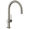 hansgrohe Talis M54 220 C-Spout Single Lever Kitchen Mixer - Stainless Steel - 72804800 profile small image view 1